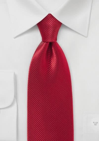XXL-Krawatte  Seide unifarben rot Linien