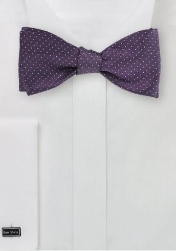 Selbstbinderfliege schwungvolle Pünktchen violett silber