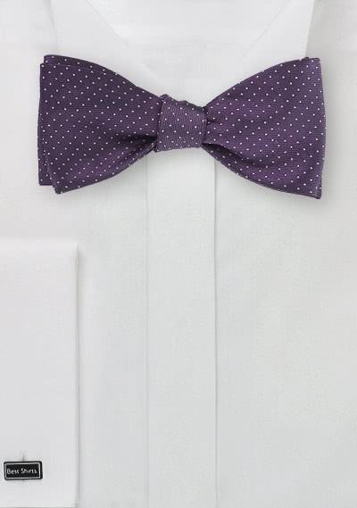 Selbstbinderfliege schwungvolle Pünktchen violett
