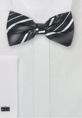 Herrenschleife Streifenmuster schwarz grau