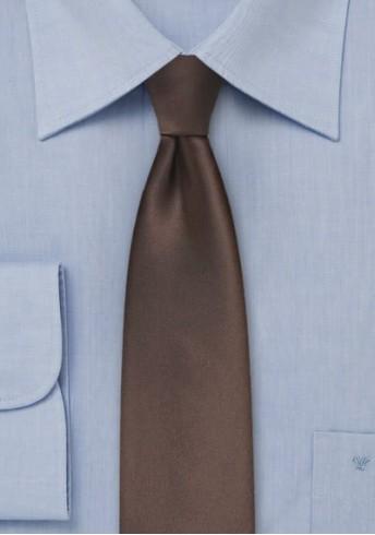 Krawatte monochrom dunkelbraun schmal