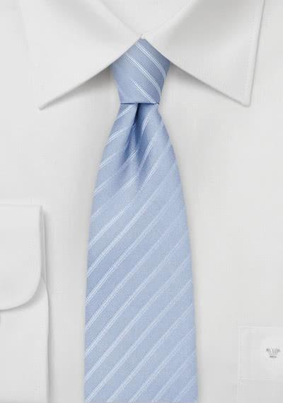 Businesskrawatte schlank Streifen hellblau weiß