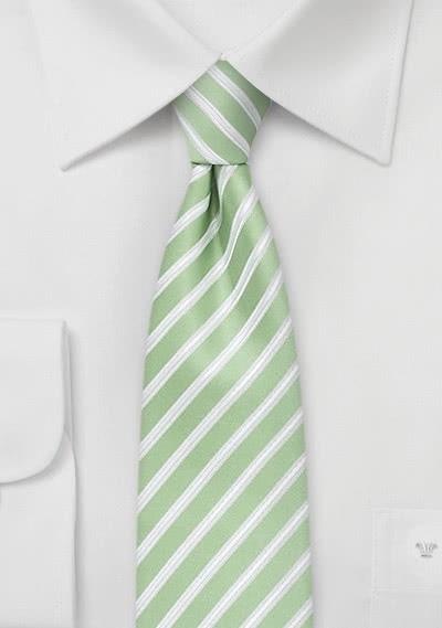 Kravatte schlank  Streifen lindgrün weiß