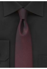 Schmale Krawatte feingerippte Oberfläche bordeaux