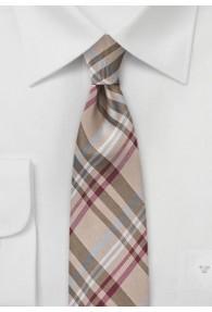 Modische schmale Krawatte ungewöhnliches Glencheckdesign sandfarben