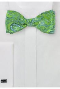 Selbstbinderfliege Paisley-Muster grün