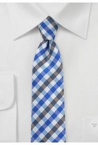 Krawatte Vichy-Karo blau capuccinofarben