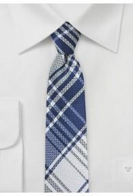 Karo-Design-Businesskrawatte schmal geformt blau