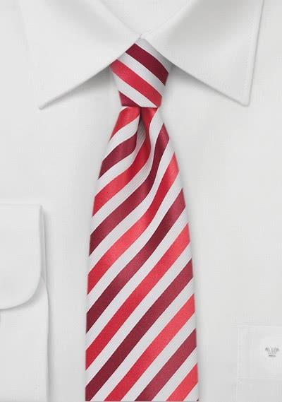 Herrenkrawatte schmal Streifenmuster rot weiß