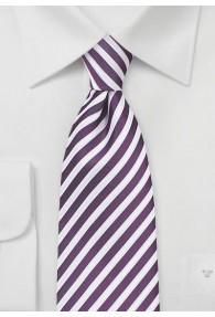 Herrenkrawatte Business-Streifen lila weiß