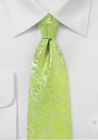 Krawatte hellgrün Rankenmuster