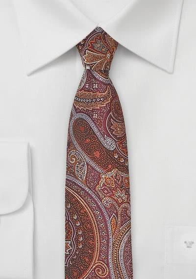 Schmale Krawatte Paisley-Motiv rot