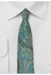 Schmale Krawatte Paisleymotiv petrol