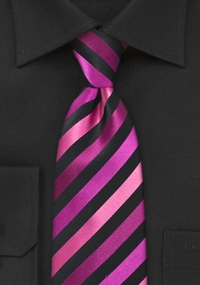 XXL-Krawatte stylisches Streifenmuster magenta