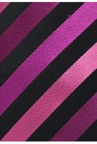 XXL-Krawatte stylisches Streifenmuster magenta tiefschwarz