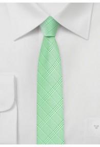 Krawatte schmal geformt Karo-Struktur blassgrün