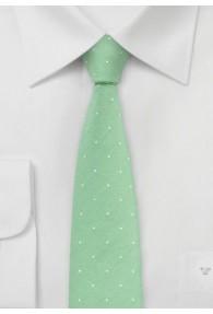 Businesskrawatte schlank hellgrün Baumwolle