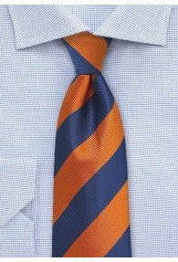 Herrenkrawatte Streifendesign orange blau