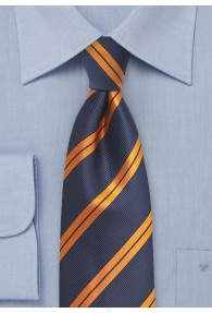 Krawatte Streifendessin dunkelblau orange