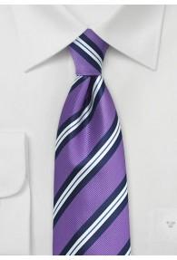 Businesskrawatte streifig violett dunkelblau
