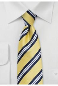 Krawatte streifengemustert blassgelb navy