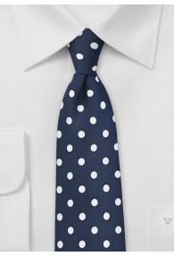 Krawatte grob gepunktet navy weiß