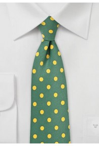 Krawatte grob punktgemustert dunkelgrün gelb
