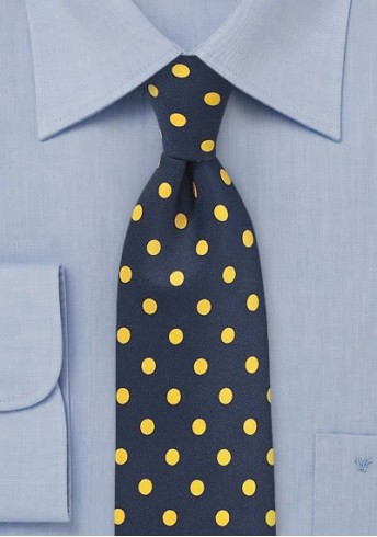 Krawatte grob gepunktet dunkelblau gelb