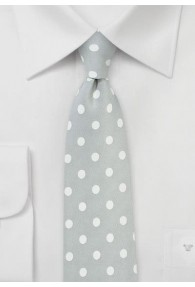 Krawatte grob gepunktet silber weiß