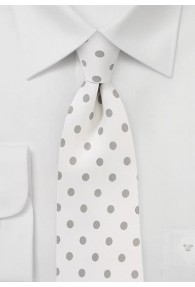 Krawatte grob getupft weiß grau