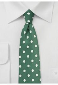 Kravatte grob gepunktet dunkelgrün weiß
