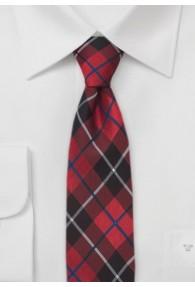 Krawatte schlank Karo-Design rot
