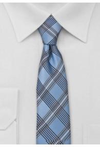 Kravatte schmal geformt Glencheckmuster taubenblau