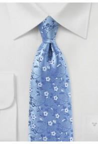 Modische Krawatte Blumenmotiv himmelblau