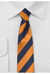 Krawatte schmal Streifenmuster kupfer navy
