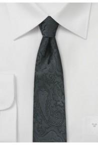 Krawatte schmal geformt Paisley tiefschwarz