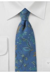 Krawatte Wolle rauchblau Ranken-Dessin