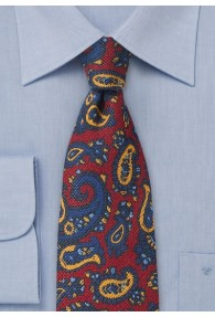 Businesskrawatte Paisley Wolle rot