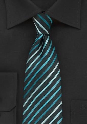XXL-Krawatte Streifendessin tintenschwarz aqua