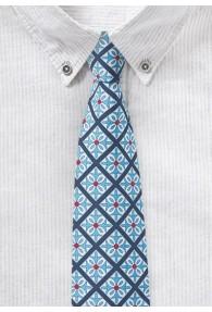 Krawatte in Lichtblau mit karogemustertem
