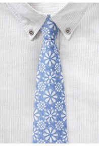 Eisblaue Baumwoll-Krawatte mit floralem Print