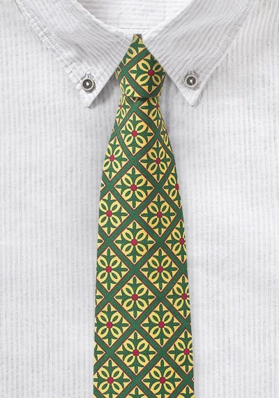 Smaragdgrüne Kravatte mit Kachel-Muster