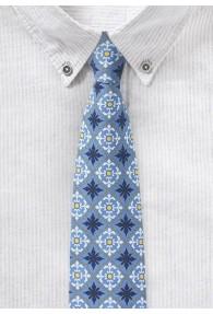 Eisblaue Krawatte mit Talavera-Ornament-Dessin