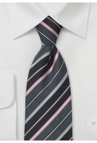 XXL-Herrenkrawatte anthrazit Streifen rose silber