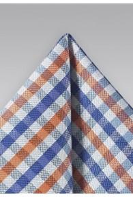 Einstecktuch Vichy-Karo taubenblau orange