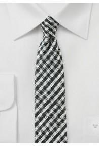 Krawatte karogemustert asphaltschwarz weiß mit