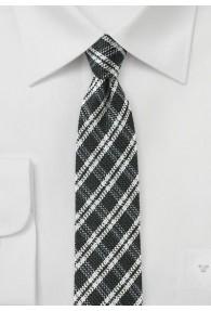 Krawatte kariert nachtschwarz weiß mit Wolle