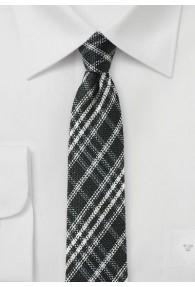 Krawatte kariert asphaltschwarz perlweiß mit Wolle
