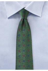 Krawatte strukturiert Kästchen-Dessin edelgrün