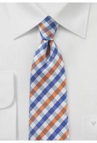 Krawatte Vichy-Karo ultramarin orange